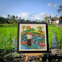 Mini Art Wall Decoration - Farmer in Balinese Ricefield